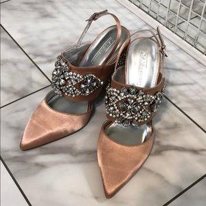 Nude Rhinestone pumps Embellished heels